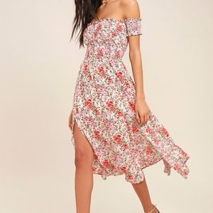 MEADOW CREAM FLORAL PRINT OFF-THE-SHOULDER DRESS